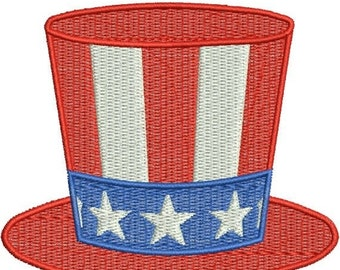 SALE 65% off Hat Fourth 4th of July Stars Stripes Filled Machine Embroidery Design 4x4 and 5x7 Instant Download
