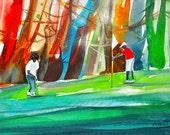 Golf Outing Watercolor Print, African American Art, Contemporary Art, Home Dece Art, Golf Art, Black Golf, Golf Decor, Gift for Him, Art