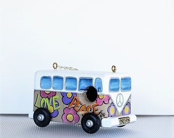 Unique Beige VW Bird House Hippy Van , Environmentally Friendly ,Hand Crafted . Hand Painted for the Wild Birds