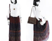 Hippie Skirt  Indian Rayon Burgundy Boho Gypsy Skirt Floral Henna Print Maxi Skirt Free size