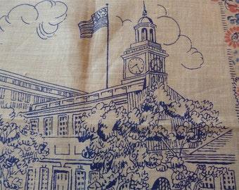 Unused Vintage Linen Hanky Handkerchief Souvenir of Independence Hall Philadelphia TAG