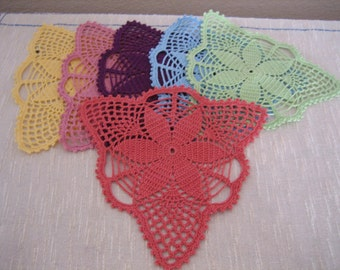 Hand crochet, fabulous  coaster doilies, set of 6, new, ready to mail