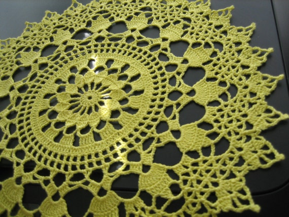 Crochet lace doily, table decor,  made by Demet, bright yellow, soo good looking.gift doily, ships free in the U.S. table center