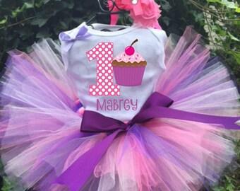 Personalized Cupcake Birthday Three Piece Tutu Set - Cupcake Tutu Outfit