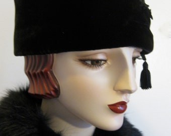 Black Velvet Toque Hat with Tassel