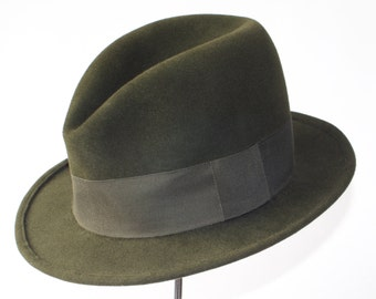 Green Felt Fedora Hat For Men Hunter Green Hat Men's Dress Hat Downton Abbey Hat Formal Hat Custom Men's Hat Spring Accessories Men's Style