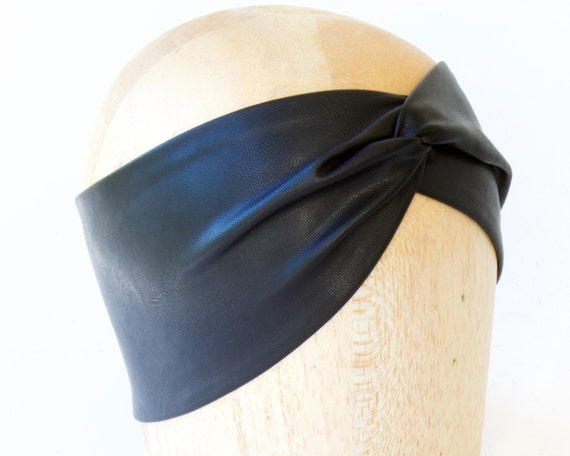 Gift For Her Leather Headband Bohemian Headband Women's Gift Leather Accessory Black Turban Headband Faux Leather Boho Chic Soft Headband