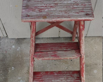Vintage Red Farmhouse Wood Step Ladder