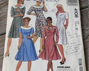 McCalls Pattern 4108 Misses Dress Size 12  UNCUT