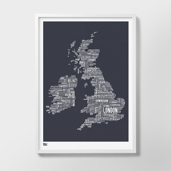 British Isles Type Map Screen Print, British Isles, British Isles Font Map, British Isles Word Map, British Isles Artwork, British Isles Art