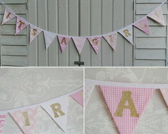 GLITTER GOLD and PINK Fabric Bunting Banner Custom made to order Baby Shower Party Wedding Celebration Photo prop can be personalised