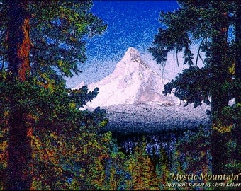 MYSTIC MOUNTAIN, Oregon Cascades, Clyde Keller Photo, Fine Art Print, Color, Signed, Treasury, primeval scene, painterly