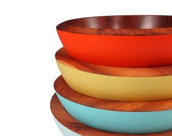 Colorful Wood Spice Bowls - Apple Wood Bowls