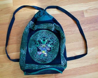 Grateful Dead Dancing Bear Embroidered Celtic Print Tree Hippie Boho Upcycled Weekender Festival Backpack Handbag