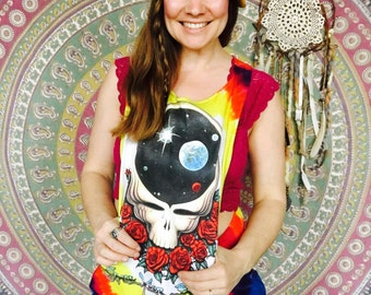 Space Your Face Grateful Dead Layering Tank Top Racer Back Festival Clothing Womens Upcycled Recycled Eco Friendly Hippie Boho One Size