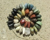 COLORFUL Drilled Beach Stones & Beach Glass Beads Lake Stones Sea Glass