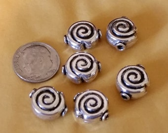 Genuine Bali Sterling Silver 14 x 12mm Spiral Beads, Sterling Silver Beads, Jewelry Supplies