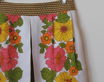 flower pop...vintage tablecloth maxi skirt with side seam pockets