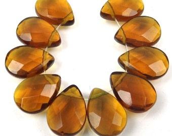 18x13mm Topza glass Quartz Faceted Briolette Teardrop Beads (10) (e7502)