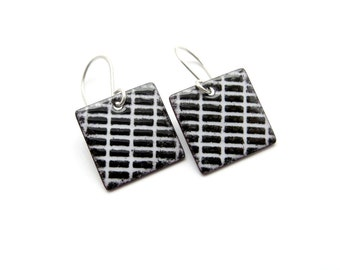Black and White Earrings - Square Earrings - Black and White Enamel Earrings - Modern Jewelry - Gift for her