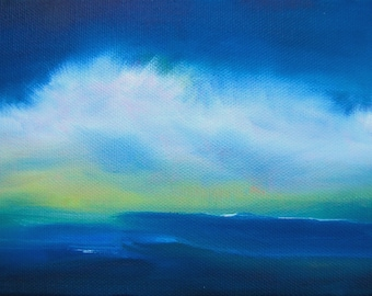 "art, painting, cloud painting, beach painting, ocean, coastal art, ""Sea Clouds-Deep Blue"" 5x7 includes metal easel"