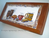 Irish Coffee illustration on Wood Panel