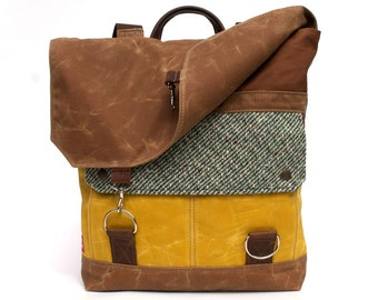 Waxed Canvas Backpack / Vintage Green Stripe Wool & Oiled Leather
