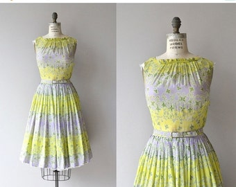 25% OFF.... Whispered Wind dress | vintage 1950s silk dress | floral print 50s dress