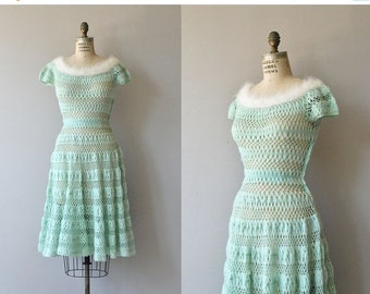 25% OFF.... Chambonné knit dress | vintage 1950s dress | wool 50s knit dress
