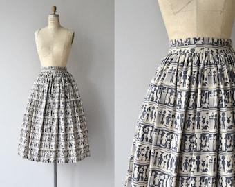 African Art skirt | vintage 1950s skirt | cotton printed 50s skirt