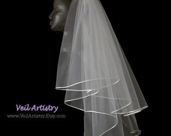 Bridal Veil, Brilliance Veil,  2 Tier Bridal Veil, Satin Cord Trimmed Veil, Corded Veil, Oval Veil, Made-To-Order Veil, Handmade Veil
