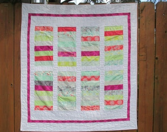 Baby Girl Quilt , Stacked Coin Quilt , Penny Roll Quilt