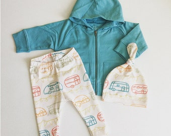 Limited Edition - 0-3 months Boys Clothing, Pants Hoodie with Matching Hat, Arrows, Blue, Ivory, Retro, Vintage Campers, Glamper, Glamping