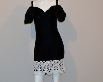Vintage Dress Black with Soutache Lace Hem