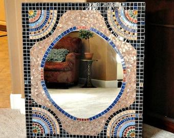 HALF PRICE Large Custom Mosaic Mirror Brown Blue Gold//Bathroom Mirror//Vanity Mirror//Home Decor//Wall Decor//Mixed Media Art