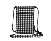 Small travel pouch, Neck wallet, Passport Holder, Small sling bag, Travel Accessory, Zipper Pouch - Black & White Gingham Check