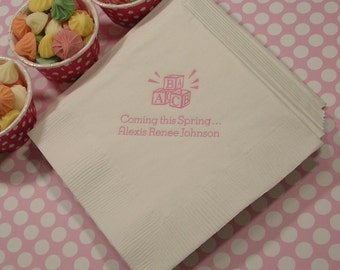 Wonderful Baby Shower Napkins Welcome Baby Napkins Set Of 50 Baby Shower Napkins  Personalized Baby Shower Napkins