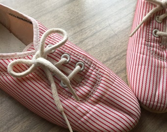 Candystriper - 1980's NIKE Red and White Stripe Sneakers