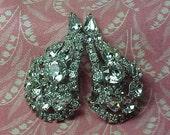Vintage Kramer N.Y. signed Clear Rhinestone Silver tone Clip on Earrings