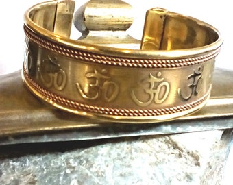 Om bracelet Cuff Engraved Solid Brass with Copper rope braided borders