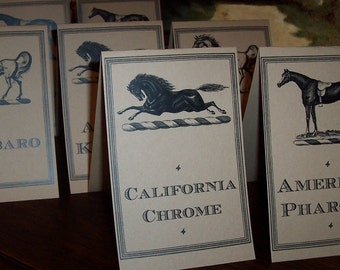 Equestrian Kentucky Derby Winners Horse Race Table Number Cards Kraft / Cream Set 22 Horse Wedding Decor Party Dinner Crown Racing Rehearsal
