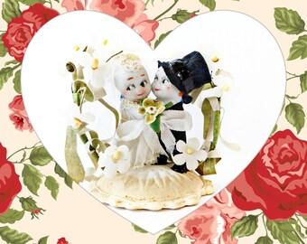 Vintage Bisque Porcelain Kewpie Bride and Groom 1920s Wedding Cake Topper Dolls Velvet Flowers on Chalkware Base RARE Keepsake Collectible