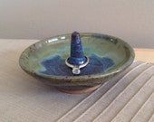Blue Green Pottery, Ring Holder, Ceramic Ring Holder, Jewelry Storage, Gift for Her, Pottery Dish