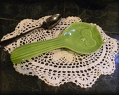 Owl Spoon Rest  or Ring Dish Jewelry holder ceramic  Tea bag holder ............ ready to ship Apple Green