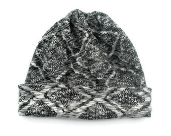 Slouchy Hat, Beanie, Sweater Knit Hat, Reversible Winter Beanie, Speckled Glitter on White, Black and Grey Geometric Diamond Rhomboid Shapes