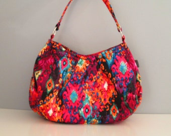 Large Shoulder Bag, Pleated Purse, Hobo Handbag, Ikat Shoulder Bag, Large Pink Purse, Fabric Shoulder Bag, Large Black Bag