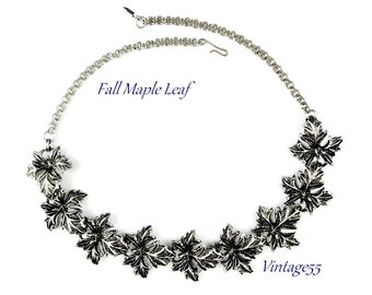 Necklace Fall Maple Leaf Antiqued Silver tone