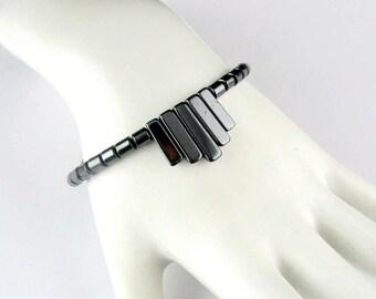 Hematite Fringe Bracelet Black