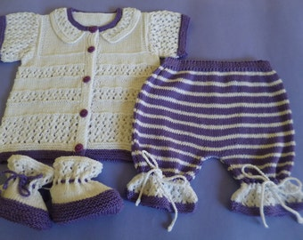 Baby Cotton Set, Knitted Baby Outfit, Baby Shower Gift, Cotton Baby Outfit, Summer Baby Set, Summer Cotton Set, Purple White Baby Set.