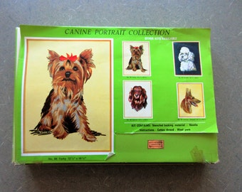 Vintage Needlepoint Kit, Yorkie Dog Needlepoint, Yorky Stitchery Kit, Canine Portrait Kit, Made in Germany, Yorkie Needlepoint Stitchery